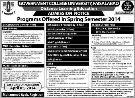 Mba Textile Management by Gc Faisalabad Distance Learning Education