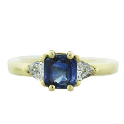 18k yellow gold emerald cut sapphire ring boca raton