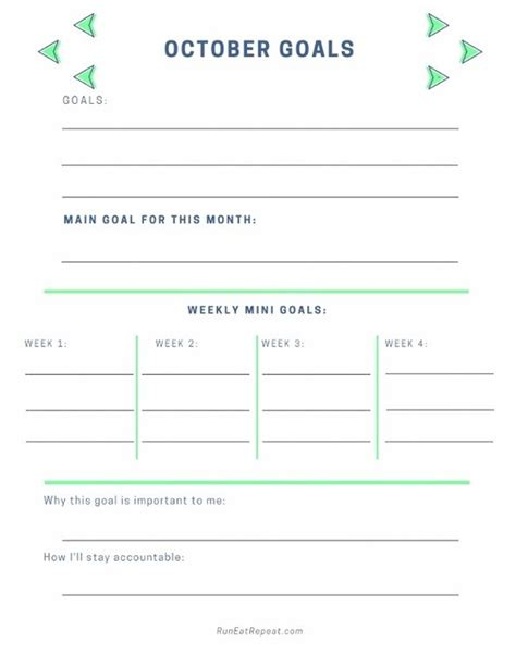 october goals plannerfree printable monthly goal setting