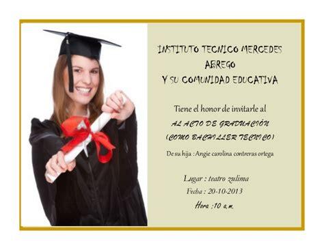 invitacion de graduacion en espanol tarjeta de invitaci 243 n de graduaci 243 n en espa 241 ol imagui