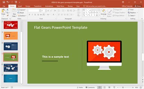 Modern Flat Gears Powerpoint Template Flat Design Powerpoint Template
