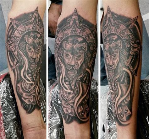 aztec lion tattoo mysterious black ink forearm of with ancient