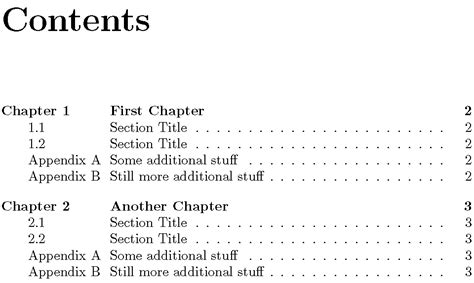 appendix section appendices table of contents with quot chapter quot and per