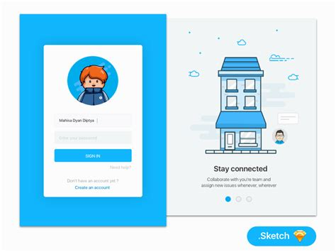 design google page in html login page with onboarding illustration sketch resource