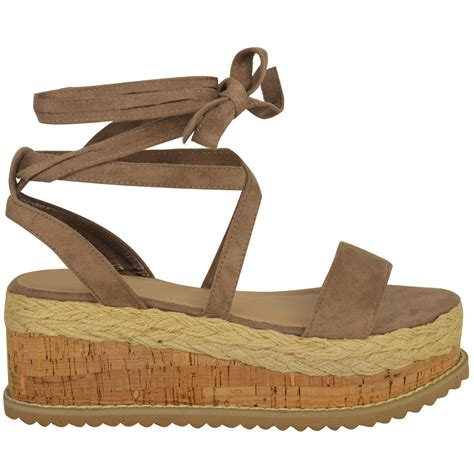 womens flat wedge espadrille lace tie up sandals