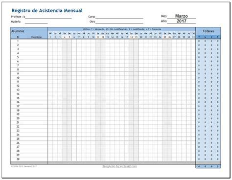 registro de asistencia descarga plantilla para registro de asistencia de alumnos