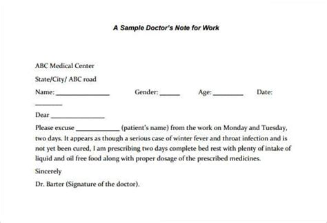 Excuse Letter Sle For Attending Burial Doctors Excuse Letter Letter Idea 2018