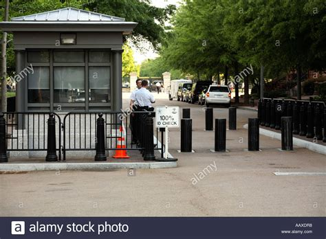 security gate and guards near the white house stock photo