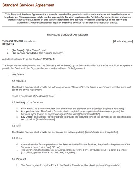 standard service contract template 10 best images of standard service agreement contract