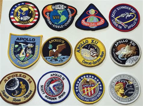 Patches Bordiran Patch 4 apollo mission patch emblems apollo 1 7 8 9 10 11 12 13 14