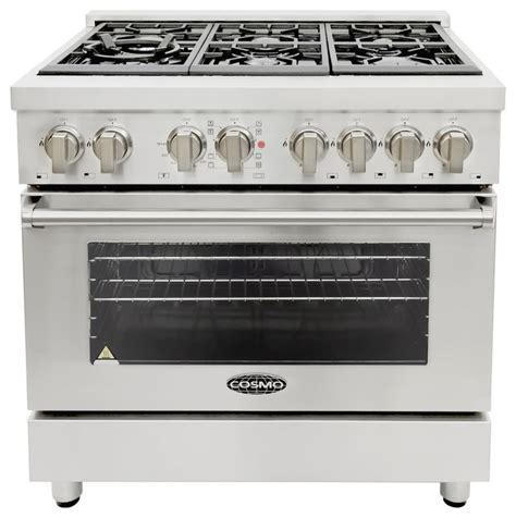 Oven Gas Cosmos 36 quot dual fuel range with 6 italian gas burners and electric convection oven industrial gas