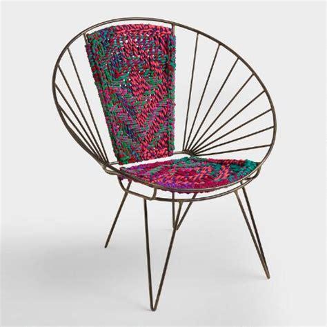 1930s Deco Metal Fan Back Garden Set Table Metal Woven Chindi Chair World Market