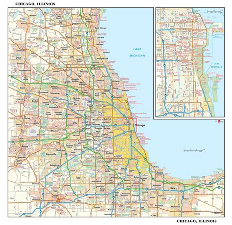 map of chicago chicago metro wall map maps