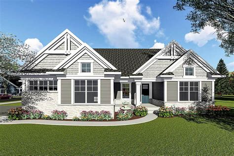 two craftsman house plans two bedroom craftsman ranch house plan 890052ah