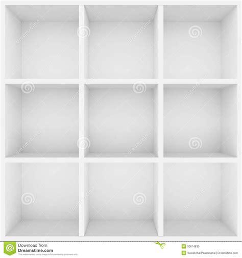 scaffali bianchi scaffali bianchi 3d per la vetrina illustrazione di stock