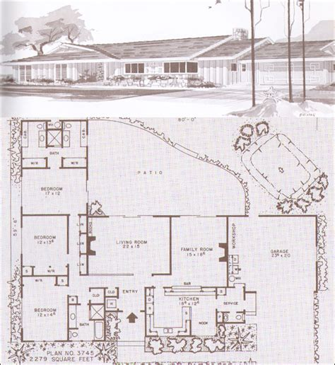 mid century ranch house plans ramblers ranches and mid century modern houses design no plan no 3745 1960