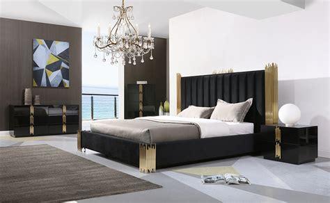 modrest token modern black gold bedroom set