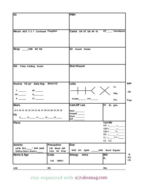 icu nurse report sheet templates images