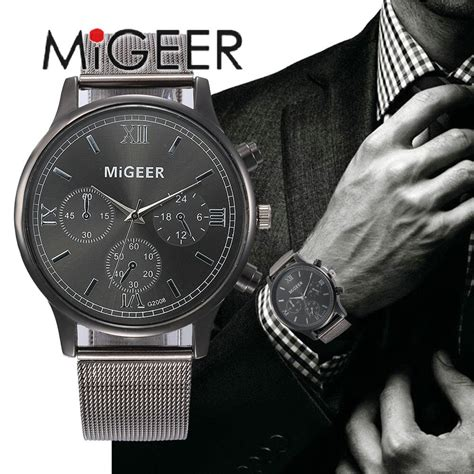 migeer  mens chronograph wrist  top luxury brand business stainless steel male quartz