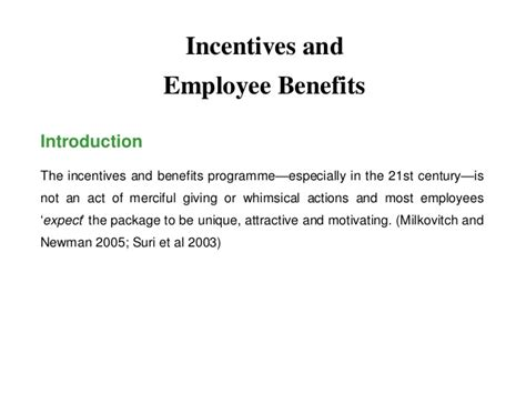 Benefits Of Mba To Employee by Mba Ii Hrm U 3 5 Incentives And Employee Benefits