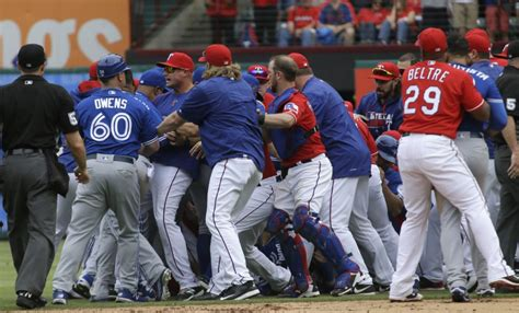 bench clearing brawl how many games will blue jays rangers be suspended for over brawl toronto star