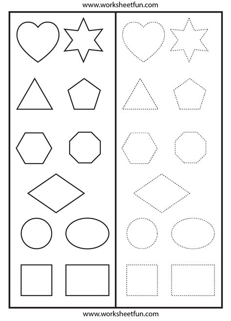printable shape activities for preschool shapes tracing worksheet printable worksheets