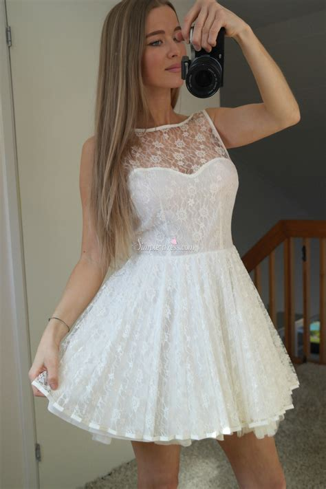 Dress White Pretty simple dress pretty white lace 2015 homecoming