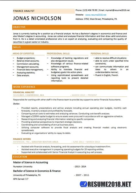 Analyst Resume Template by Finance Analyst Resume Templates 2018 Resume 2018