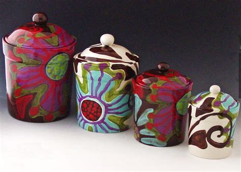 colorful kitchen canisters sets canister set of four urban fusion colorful pottery