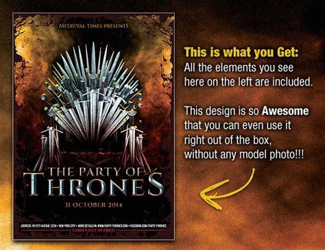 Party Of Thrones Medieval Flyer Template On Behance Of Thrones Photoshop Template