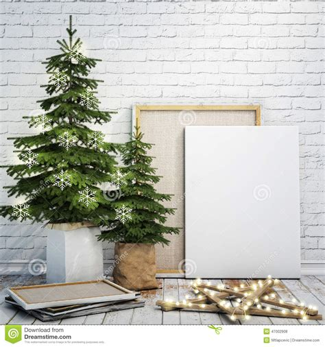 poster mock up on the brick wall stock vector image mock up poster on the white brick wall with christamas