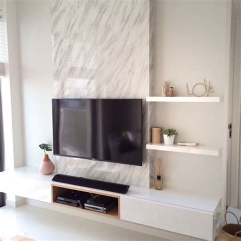 feature wall tv feature wall with a single panel marble backdrop and