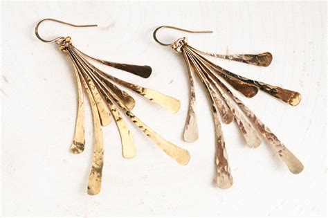 Handcrafted Gold Earrings - flash rustic handcrafted fan earrings hammered gold
