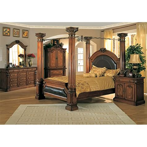 king size canopy bedroom set classic canopy poster king size bedroom set reviews