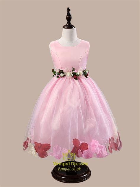 pink ball gown knee length flower girl dresses  rose