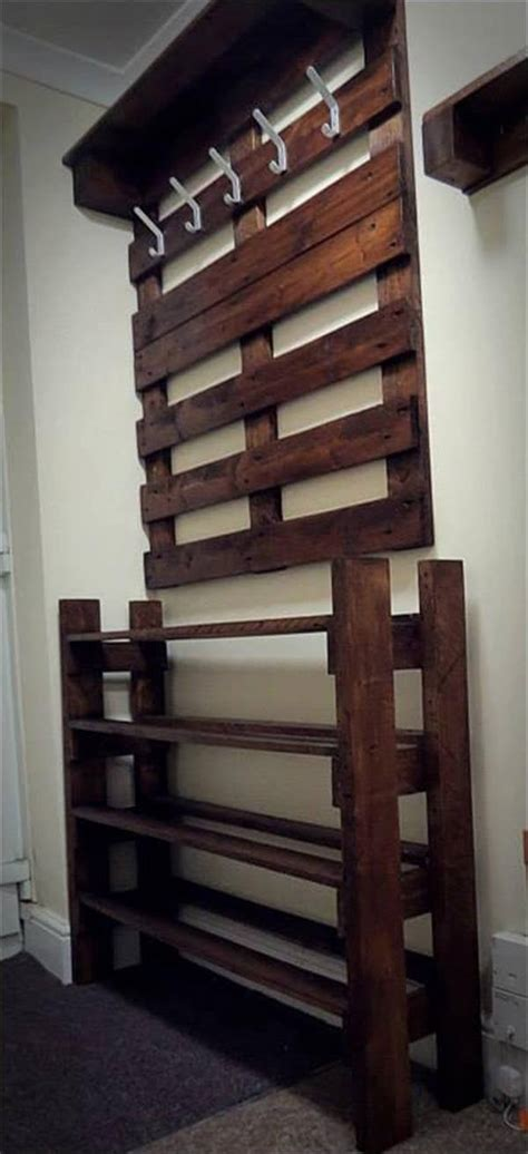 coat rack with shoe storage hallway pallet coat rack and shoe rack 101 pallets