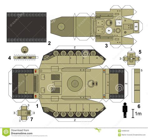 Tank Papercraft - paper model of a tank stock vector illustration of vector