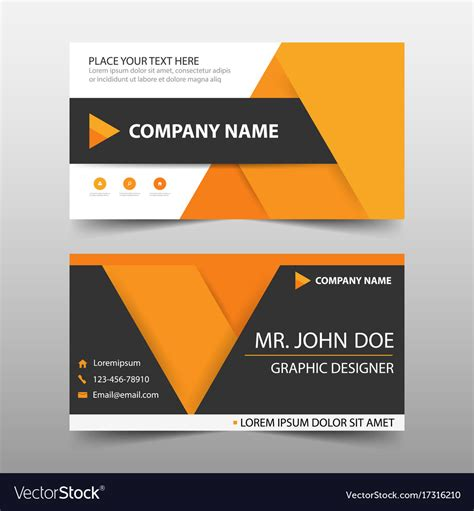 designer name card template orange corporate business card name card template vector image