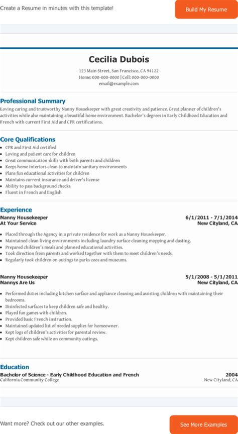 nanny housekeeper sle cv nanny resume templates for free formtemplate