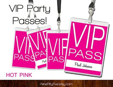 Party Crasher Passes Get People To Bring Friends Black Vip Pass Invitations Editable Diy Vip Name Tag Template
