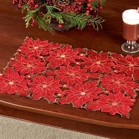 christmas poinsettia placemat set of 4
