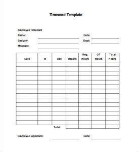Manual Time Card Template by Time Card Template Template Business