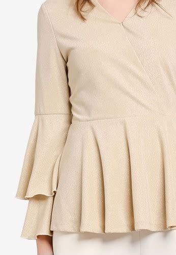Pakaian Wanita Zalia Foil Print Peplum Dress Dress Evening Dress 1 jual zalia metallic wrap peplum top original zalora indonesia