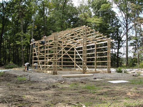 Pre Made Shed Trusses by Pole Barn Day 2 The Reluctant Forester