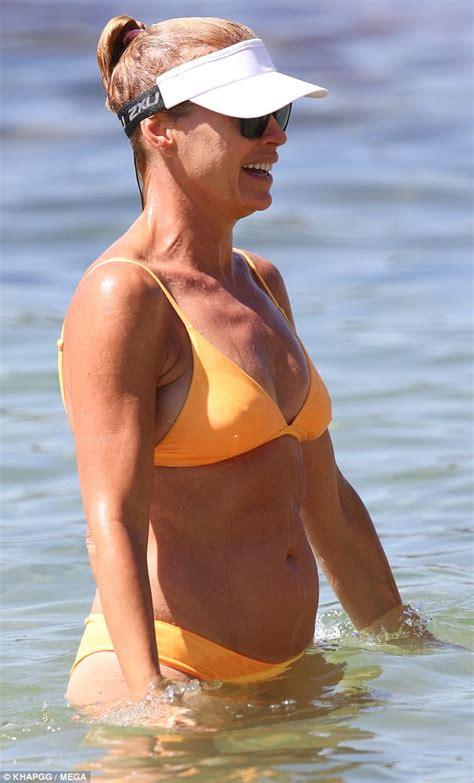 bikini clad sonia kruger sizzles  balmoral beach daily mail