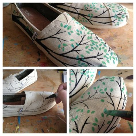 painted shoes diy diy painted toms shoes branches leaves i toms