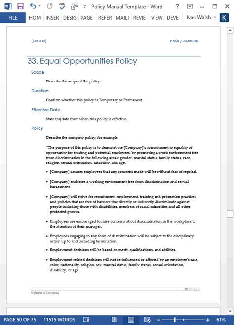 company policy manual template policy procedures manual templates ms word 68
