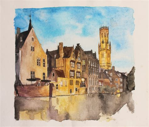 building painting bruges watercolor buildings by raulvincit on deviantart