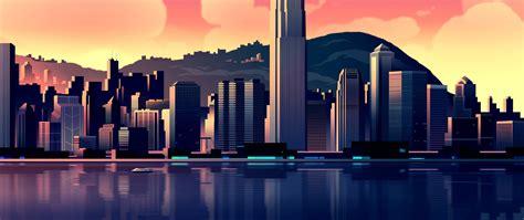 bit cityscape  lake full hd wallpaper