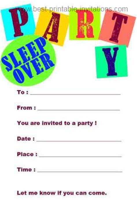 sleepover invitation templates free free printable slumber invitations template best
